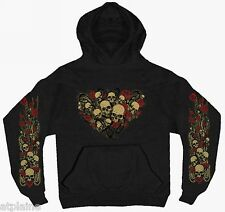 Sweat femme capuche SKULLS ROSES - Taille XL - Style BIKER HARLEY