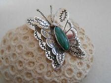 Malachite Butterfly Brooch 240018 Vintage Southwest Sterling Silver