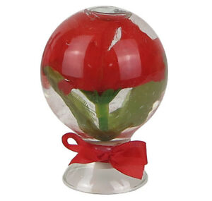 """Silk Red Rose Flower in Glass w/ Water Tabletop Floral Decor 2.25""""H x 1.75""""W New"""