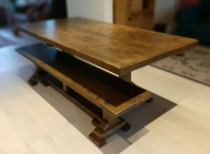 """Solid Wood Rustic Farmhouse Dining Table and Bench """"Dark/Rustic Oak PAINTED"""""""