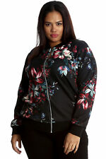 New Womens Jacket Plus Size Ladies Floral Print Bomber Ribbed Oriental Nouvelle