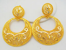 Chand Bali Jhumka Hoop Earrings Ethnic Filigree Gold Plated Indian Jewelry