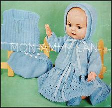 Knitting Pattern • Baby Dolls Clothes Lacy Dress,Jacket,Bonnet,Vest,Pants,Shoes