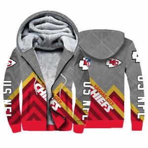 Kansas City Chiefs Fleece Hoodies Football Hooded Sweatshirt Sports Warm Jacket