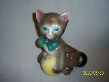 New listing Vintage- Royal Copley, Large Pottery Cat With Ball Of Yarn Figurine/Planter