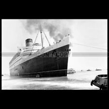 Photo B.000554 RMS QUEEN ELIZABETH CUNARD LINE CHERBOURG OCEAN LINER