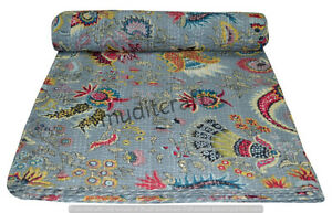 Indian Art Kantha Double Quilt Handmade Floral Reversible Blanket Throw
