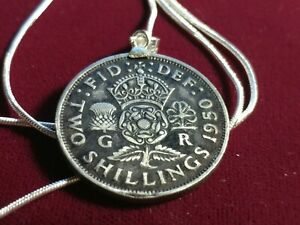 """1950 UK 2 SHILLINGS Baby Boomer Birth year Pendant on 18"""" 925 Silver Snake Chain"""