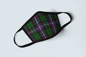 Clan Russell Tartan Face Mask Scottish Family Plaid Blue Green Covering Mask