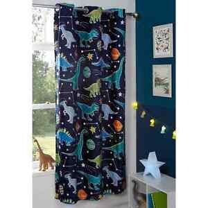 "Glow In The Dark Kids Single Curtain Panel Dinosaur 46 x 72"""