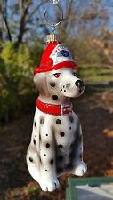 New Krebs Germany Blown Glass Firefighter Dog Ornament New