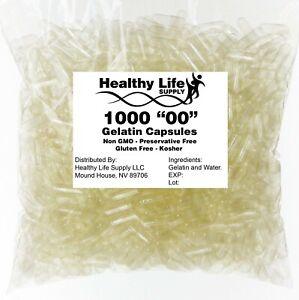 1000 EMPTY GELATIN CAPSULES SIZE 00 BULK Kosher Halal 1,000 Gel Caps Pure USA
