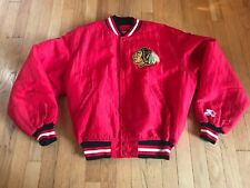 Vintage NHL Chicago Blackhawks Red Starter Jacket Indian Logo Patch Size Medium