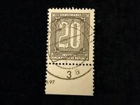 Deutschland DDR ,Dienstmarken ZKD 1956 - MiNr. 3      20 (Pf) mit UR