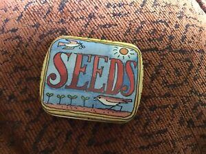 Matthew Rice hinged lidded Pill Tin 'SEEDS'' 6 x 5 x 1.5cms
