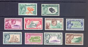 PITCAIRN ISLANDS  SG 1-8 GVI 1940 DEFINITIVE SET OF 10 MNH