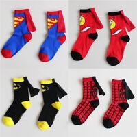 Super Hero Superman Cosplay Cartoon Socks Tube Capes Kids Socks Child Cartoon