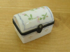 Limoges Floral Sprigs & Gold Dots Casket/Trunk Shaped Trinket/Pill Box - <2""