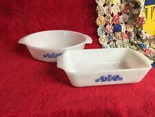 Vintage 2 Piece Set of Fire King White Casserole Dishes with Blue Floral Design