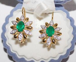 0.60ctw Diamant Smaragd 585/14K Gelb Gold Jahrestag russischer Look Ohrring