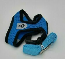 Small Dog Vest harness Collar with Leash soft chest strap adjustable SMALL-BLUE