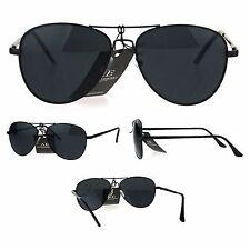 Mens All Black Classic Driver Metal Rim Police Style Pilot Sunglasses
