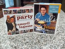 Emeril Lagasse Every Day's A PARTY Louisiana AND Potluck SIGNED 1st/1st Lot of 2
