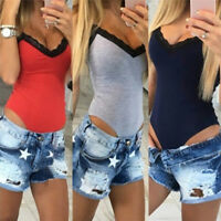 Women Summer Slim V-neck Rompers Stretch Bodycon Lace Patchwork Short Jumpsuits^