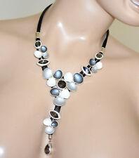 COLLAR mujer negro gargantilla colgantes flores gris blanco plata cristales G70