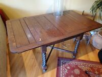 English Antique Oak Barley Twist Draw Leaf Square Breakfast Kitchen Dining Table