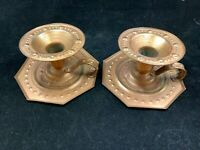 2 vintage Dimpled copper colored metal finger loop candlesticks candle holders