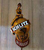 Schlitz Beer 1970 Lady Globe Wall Sconce Bar Light Sign Milwaukee Vintage 84504