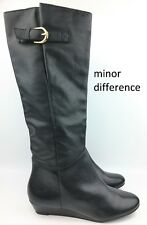 Steven by Steve Madden 'Intyce' Black Leather Knee High Wedges Boots sz: US 6