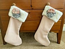 Set Of 2 Vintage Style Pink & Gray Christmas Stockings