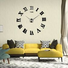 Large Roman Numerals Big Black Giant Numbers Wall Clock DIY Sticker Lounge Decor