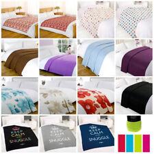 Plain Printed Fleece Throw Warm Soft Large Decorative Sofa Cosy Bed Blanket
