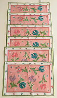Vintage 1992 Surface Play Pink Floral Place Mats Dining Set Of 6 Placemats