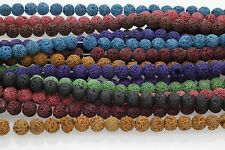 "Natural Lava Rock Round Gemstone Spacer Beads Strand 50pcs ,15"" ,  9Colors"
