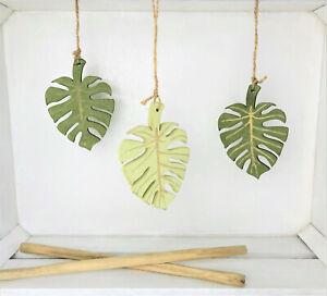 3 x Fensterdeko Dekohänger Holz Blatt grün modern Deko Sommer 10 cm