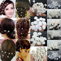 20/40pcs Pearl Rose Flower Crystal Hair Pins Clips Prom Wedding Bridal Jewellery