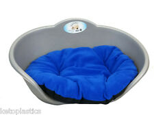 SMALL Plastic SILVER / GREY Pet Bed With BLUE Cushion Dog Cat Sleep Basket