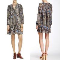 Free People Rain or Shine Floral Paisley Print Lace Up Tunic Shift Dress Size M