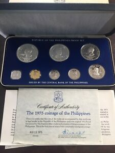 1975  Republic of Philippines Sterling Proof Set 8 Coin Silver Set With COA