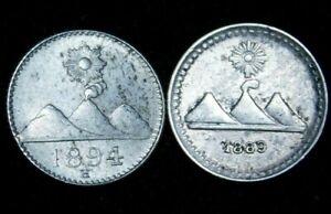 Guatemala 2 x  1/4 Real Silver 1889, 1894 H  (Heaton Mint)  57-837