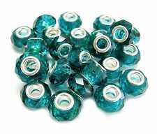 European  Beads Emerald Green Roundelle Facets 15 x 10 mm 10 pcs DIY Jewelry