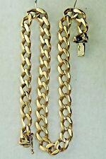 MENS ITALIAN 18K GOLD 9.75 INCH FLAT CURB LINK BRACELET