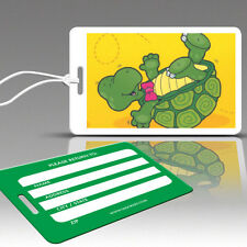 TagCrazy Luggage Tags For Kids, Funny Turtle Design,Durable Plastic Loops-2 Pack