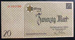 Lodz Litzmannstadt Germany Ghetto Currency 20 Reichsmark KZ Bill Note