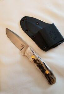Arkansas DOZIER Stag Knife K9 Personal Utility Kydex Sheath New Mint USA