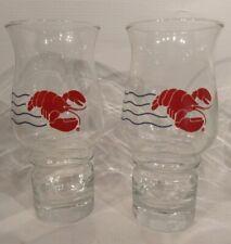 2 Vtg Maine Red Lobster Restaurant Advertising 16 oz Promo Glass Tumblers- Two